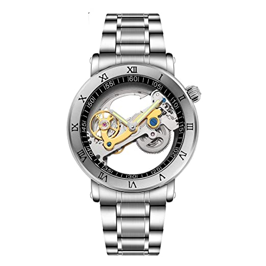 PIJSOADM Relojes para Hombre Fashion Men Mechanical Watch Unique Transparent Hollow Automatic Wind Watch Men Stainless Steel Tourbillon Watch: Amazon.es: ...