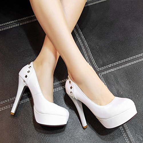 Mee Shoes Women's Sexy High Heel Round Toe Slip On Platform Court Shoes White CGtHazLR2q