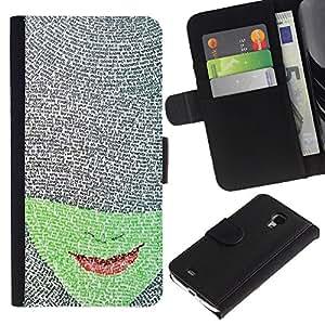 APlus Cases // Samsung Galaxy S4 Mini i9190 MINI VERSION! // Verdes cara libro carácter rojo labios Leer // Cuero PU Delgado caso Billetera cubierta Shell Armor Funda Case Cover Wallet Credit Card
