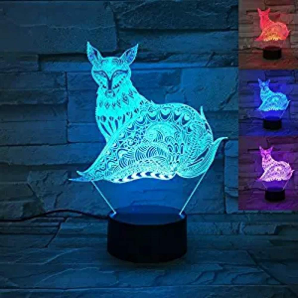 Amazon.com: 3d Fox Lámparas de mesa de luz nocturna ...