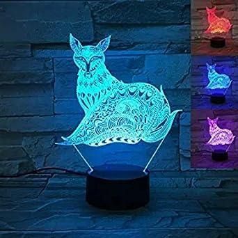 3d Fox luz de noche mesa escritorio lámparas de ilusión óptica 7 ...