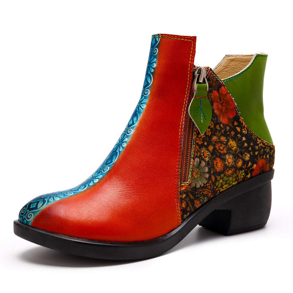 schuheHAOGE Damen Stiefelie Nappaleder Frühling & & &  Herbst Vintage Stiefel Chunky Heel Stiefelies Stiefeletten Rot b0a9aa