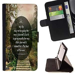 King Art - Premium-PU-Leder-Prima caja de la PU billetera de cuero con ranuras para tarjetas, efectivo Compartimiento desmontable y correa para la mu?eca FOR HTC M8 One 2 - My Life