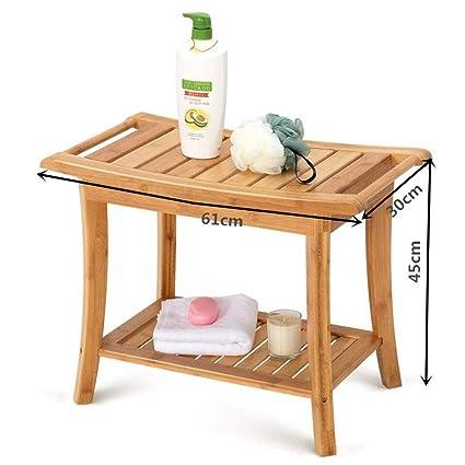 Banc de siège de douche en bambou avec tablette - Tabouret ...