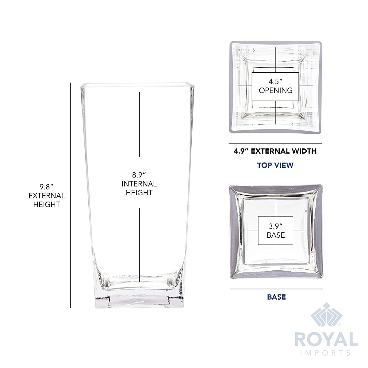 """Royal Imports Flower Glass Vase Decorative Centerpiece Home Wedding Tall Square Tapered Shape, 10"""" Tall, 5""""x5"""" Opening"""