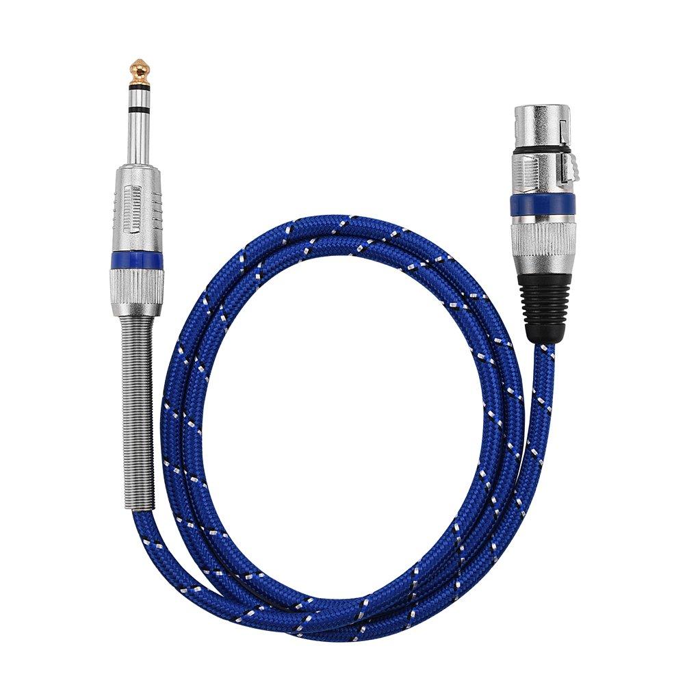 Zerone Câble XLR de 6,35 mm, câble de Microphone symétrique Femelle à 3 Broches série Premium mâle à 3 Broches, Guitare électrique et Autres appareils Professionnels(1m)