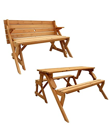 Awe Inspiring Leisure Season Garden Bench Converts To Picnic Table Wooden Evergreenethics Interior Chair Design Evergreenethicsorg