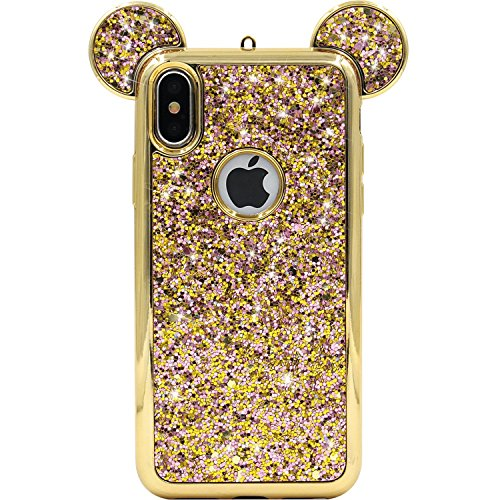 Tech Express Mouse Ears Glitter Case Apple iPhone Xs Max Design Cover Chrome Bumper Bling Sparkle [TPU Gel Edge] Rhinestone Mickey Diamond Character Drop Protection Xs Max Minnie (Gold)