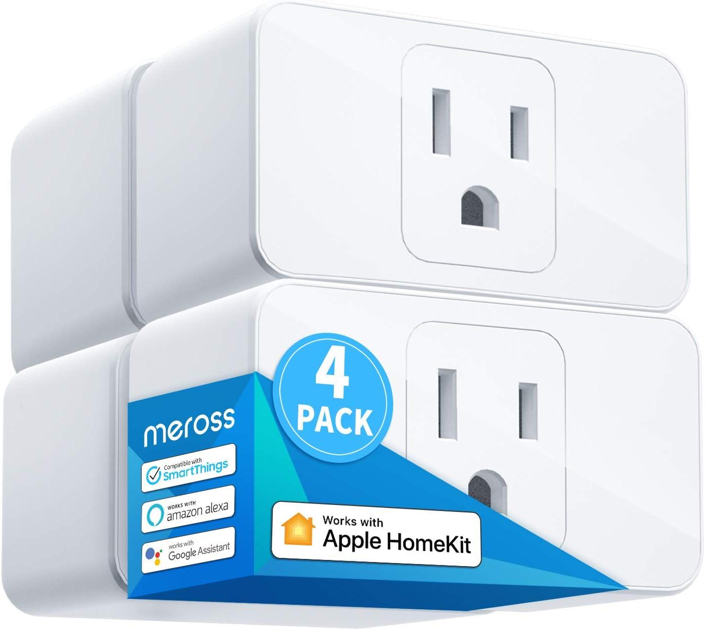 Meross Smart Plug Mini, 15A & Reliable Wi-Fi, Support Apple HomeKit, Siri, Alexa, Echo, Google Assistant, Nest Hub and SmartThings, App Control, Timer, No Hub Needed, 4 Pack