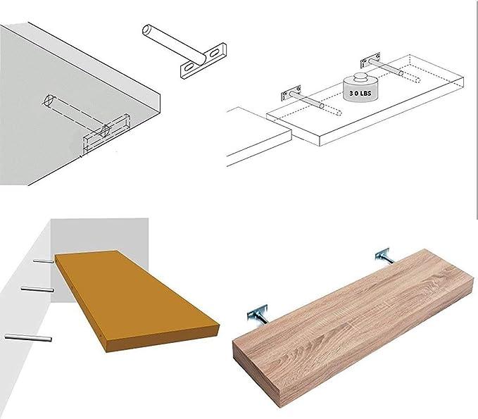 schwebende Regalhalterungen Unsichtbare Halterungen f/ür das Blinde Regal mit schwebender Unterst/ützung mit Schrauben und D/übel BIEE Unsichtbares Regal