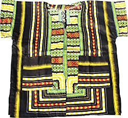 RaanPahMuang Brand Unisex Childrens African Dashiki Throw Over Shirt, X-Small, White Red