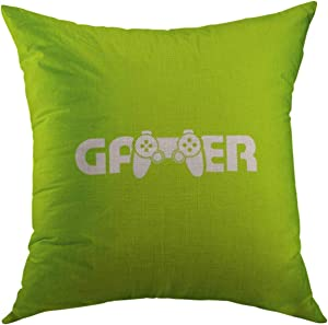 Mugod Decorative Throw Pillow Cover for Couch Sofa,Green Button Gamer Logovector Computer Home Decor Pillow Case 18x18 inch