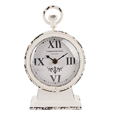 NIKKY HOME Vintage Metal Round Analog Table Clock White 4.75 by 2.5 by 7.62 Inches