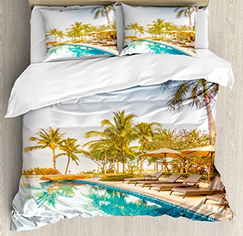 Ambesonne House Decor Duvet Cover Set  Aerial View Of A Pool In A Health Resort Spa Hotel With Exotic Elements Sports Modern Photo  3 Piece Bedding Set With Pillow Shams  Queen Full  Multi