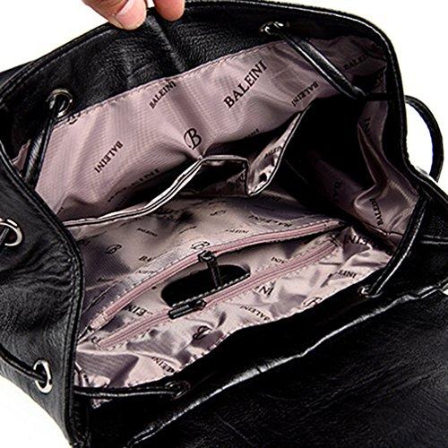 PU Viaje Xinwcang Mano Negro Bolso de Bolsa Mochila del bolsillos Moda la de Mochilas Hombro Mujer Cuero Multi de qwvx7qar