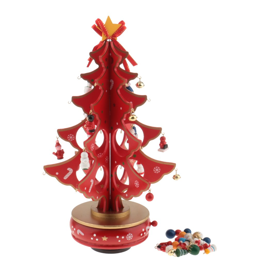 Jili Online New Year Lovely Cartoon Wooden Merry Christmas Tree Decorations Christmas Gifts Ornaments XMAS Table Desk Decor for Home - red by Jili Online (Image #6)