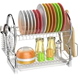 Dish Drying Rack, GSlife 2 Tier Stainless Steel Dish Rack with Utensil Holder, Cutting Board Holder and Dish Drainer for Kitchen Counter,Silver