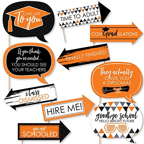 Funny Orange Grad - Best is Yet to Come - Orange Graduation Party Photo Booth Props Kit - 10 Piece