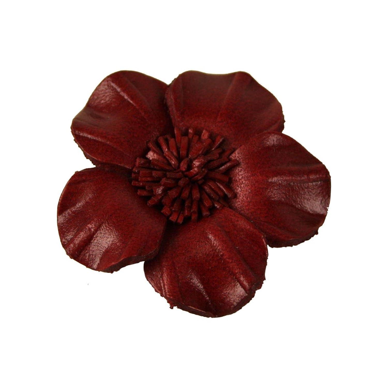 Veilchen Lederblume zum Anstecken burgund - Durchmesser: ca 4 cm