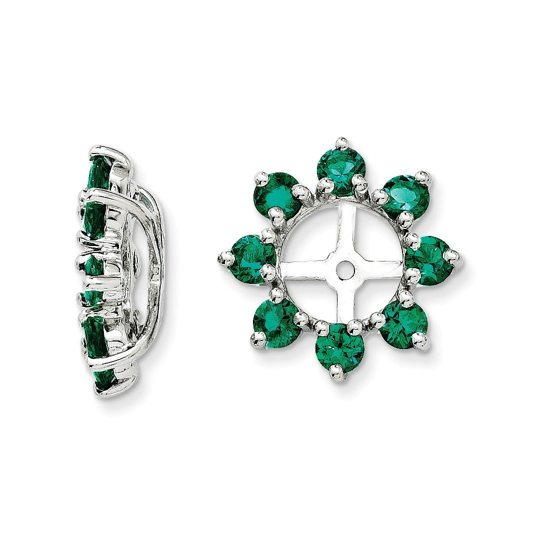 ICE CARATS 925 Sterling Silver Created Green Emerald Earrings Jacket Birthstone May Fine Jewelry Gift Set For Women Heart