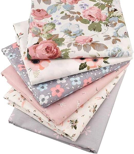 6 piezas / lote de tela de sarga de algodón de sarga floral, para ...