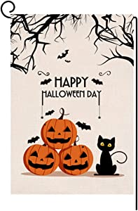 Fall Halloween Pumpkin Cat Garden Flag Vertical Double Sided Black Bat Spider Farmhouse Burlap Yard Outdoor Decor 12.5 x 18 Inches (116950)
