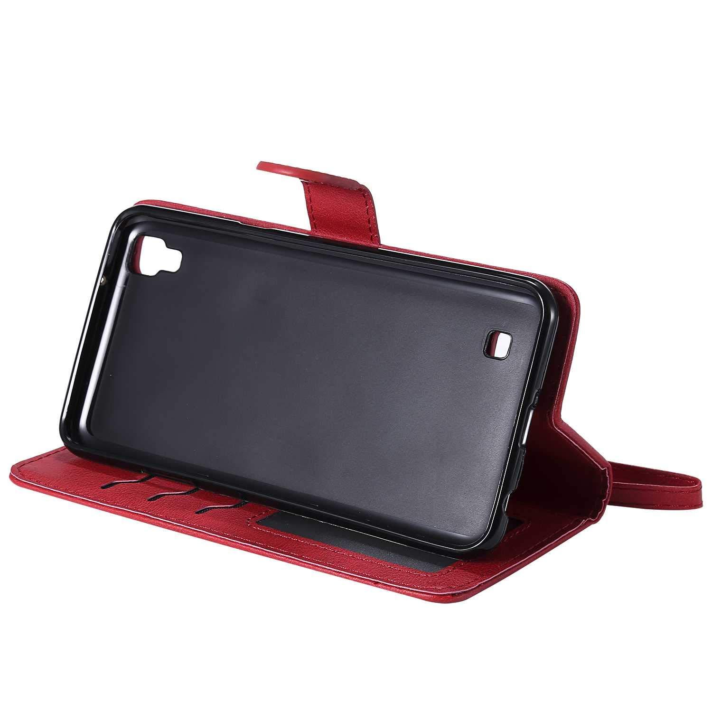 Blau 360 Grad Voll Schutz Flip Leder Handyh/ülle Tasche mit Kartensfach TPU Innere Ledertasche Bear Village/® H/ülle f/ür LG X Power