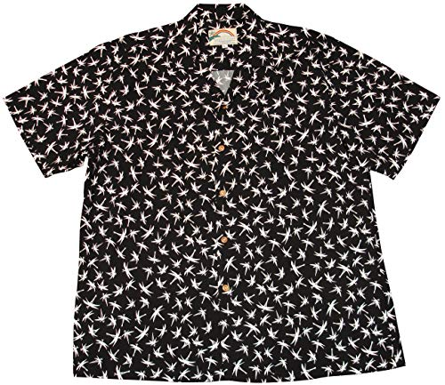 (Paradise Found Men's Magnum PI Bamboo Hawaiian Shirt, Black,)