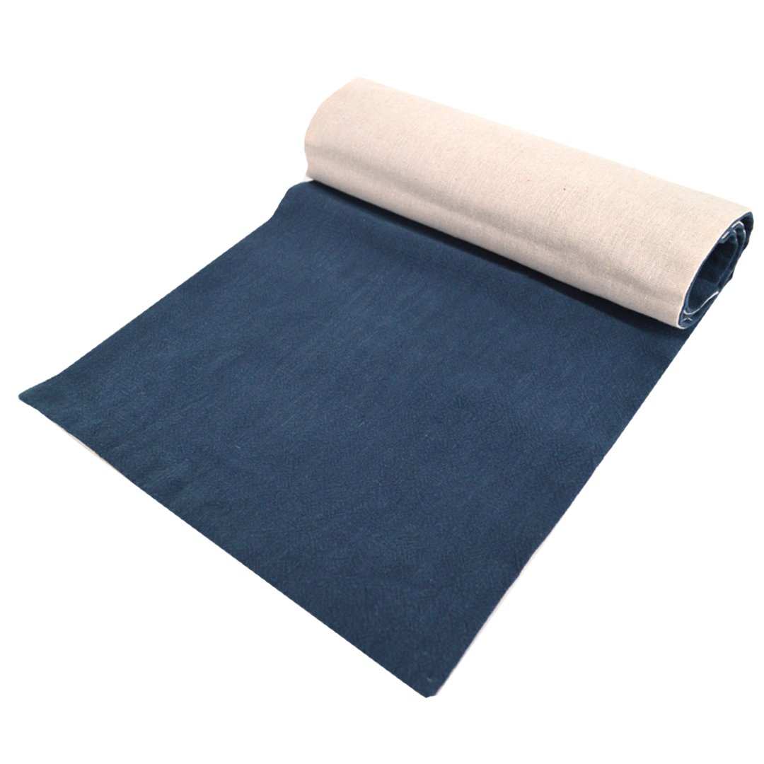 Felice Burlap Table Runner Reversible Cotton Linen Tea Towels Tea Cloth for Thanksgiving, Weddings, Dinners, Parties, or Everyday Use (navy, 11.839.4in) by Felice