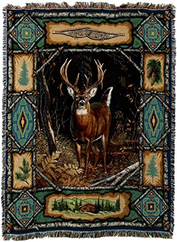 Pure Country Weavers - Deer Lodge Cabin Hunting Decor Woven Tapestry Throw Blanket with Fringe Cotton USA Size 72 x 54