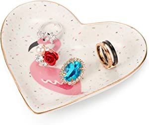 Kimdio Ring Dish Jewelry Holder Heart Shape Trinket Tray Ceramic Plate Jewelry Organizer Home Decor Dish for Birthday Wedding Mother's Day Christmas etc. (Flamingo)