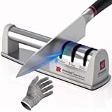 Amesser Knife Sharpener Diamond Wheel - Quickly Sharpen, Honing, Polish Kitchen Knives with 3 Stage Grit 360/600/1000…