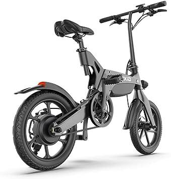WQY Bicicleta De Montaña Eléctrica De 16 Pulgadas, Freno De Disco Doble para Adultos Plegable Y Bicicleta De Montaña De Suspensión Completa, Asiento Ajustable para Bicicleta, Marco De Aleación,Gris: Amazon.es: Deportes y
