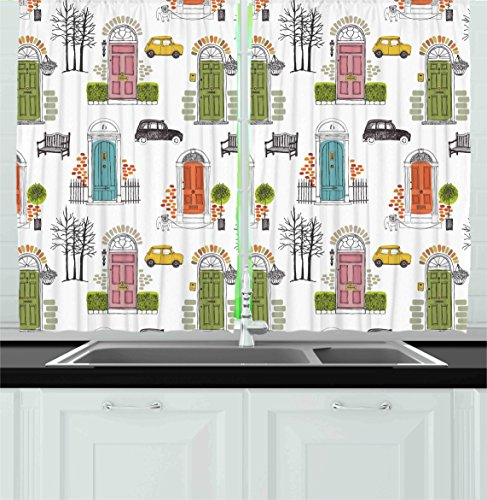 Ambesonne Kitchen Decor Collection, Vintage House Doors Art Pattern City Collage Entrance Dog Car Gate Home Bench, Window Treatments for Kitchen Curtains 2 Panels, 55X39 Inches, White Pink Green Blue