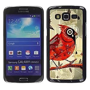 LECELL--Funda protectora / Cubierta / Piel For Samsung Galaxy Grand 2 SM-G7102 SM-G7105 -- Bird Drawing Watercolor Rain --