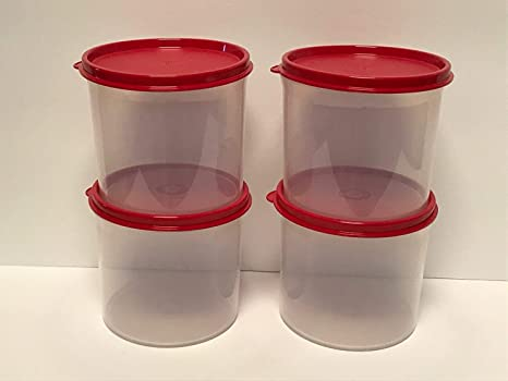 Amazon Com Tupperware 4pc Stacking Mini 20 Oz Canister Set Clear With Red Seals Kitchen Dining