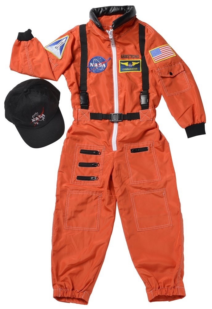 Aeromax Personalized Jr. Astronaut Suit with Embroidered Cap and NASA Patches, Orange, Size 6/8