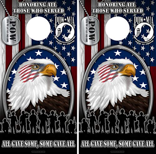 Speed Demon Hot Rod Shop Cornhole Board Wraps ~ American Flag Eagle with Veterans POW Dog Tags Corn Hole Boards Laminated Decal Wraps (Set of 2) (Best Vinyl Wrap Shops)