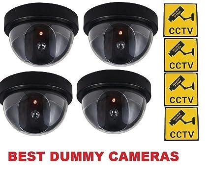 Nitaar - Pack de 4 pegatinas de advertencia de seguridad para la cámara de seguridad falsa