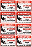 Video Surveillance Vinyl Stickers Property Protected 24 Hour , 8 PACK Waterproof UV Proof Decals. Easy To Re-Attach, Attach To Almost Any Surface- 6 Month Warranty by Rivit's Gadget
