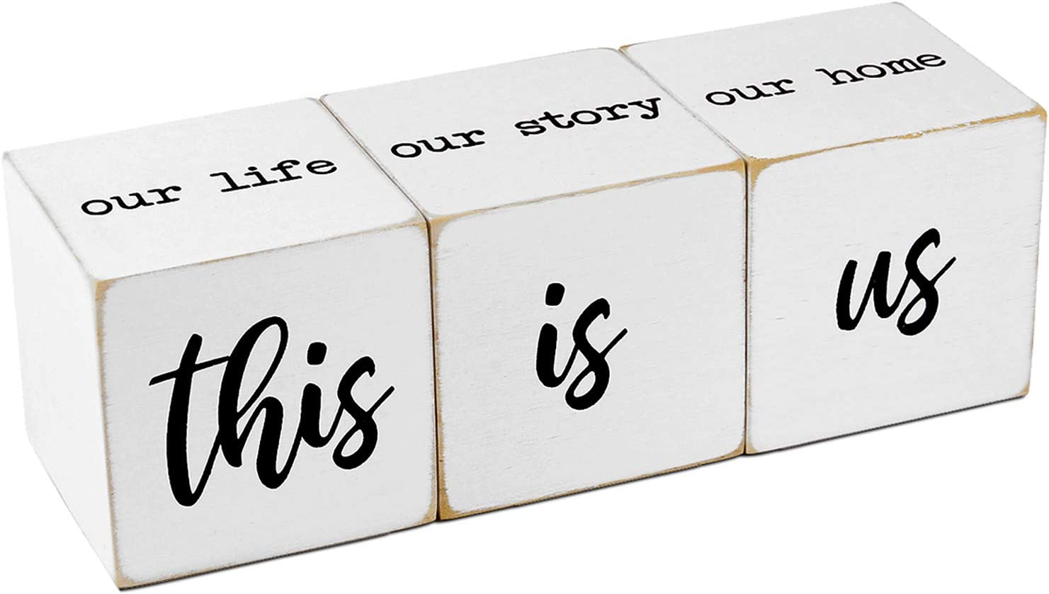 Wooden Farmhouse Table Top Decor-This is us&Our Life Our Story Our Home Letter Blocks Decor, 2 Sides Vintage Rustic Tiered Tray Decorations, Modern Farmhouse Decor Signs for Living Room Home Shelves