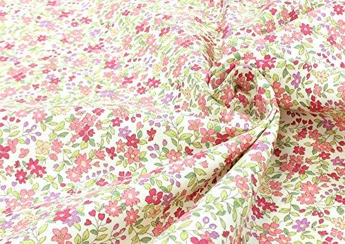 リバティ風 花柄 生地【ピンク】ブロード おしゃれな小花柄のフラワープリント生地 布 布地 手芸【1m単位】の商品画像