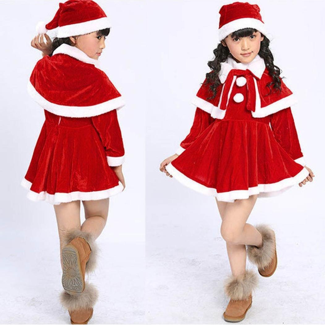 Bestow Ropa de Navidad Vestidos De Fiesta De Disfraces + Chal + Traje De Sombrero (8-9T, Rojo)