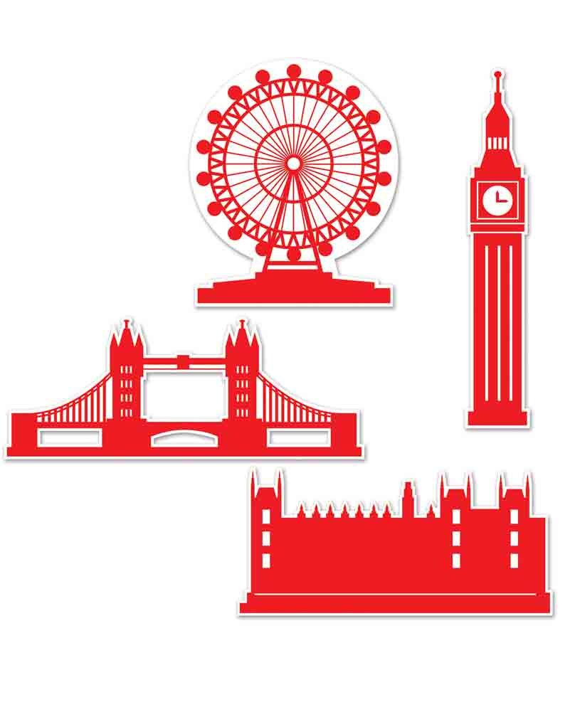 London Silhouettes Cardboard Cutout Pack Of 4 one size Beistle