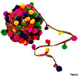 Lovely Arts Collection Woolen Yarn 20mm Pompom Tassels Ball Fringe Lace, 10 M, Multicolour