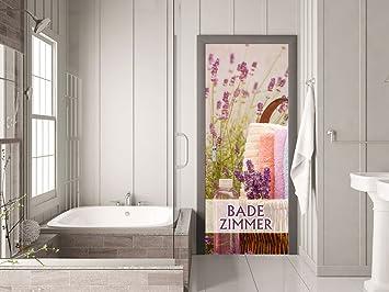 GRAZDesign 791475_80x205 Tür-Tapete Badezimmer mit Lavendel ...