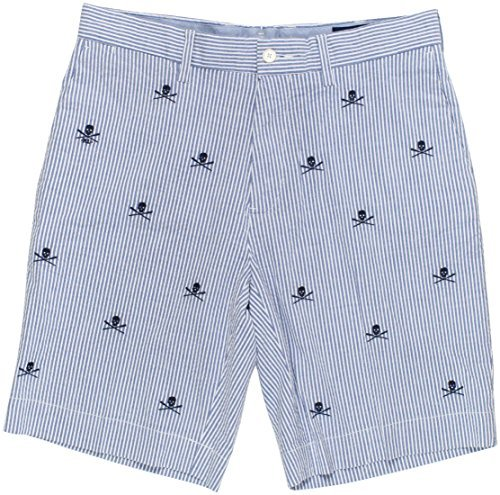 (Ralph Lauren Polo Men's Classic-Fit Embroidered Skull Seersucker Shorts (Blue, 36))