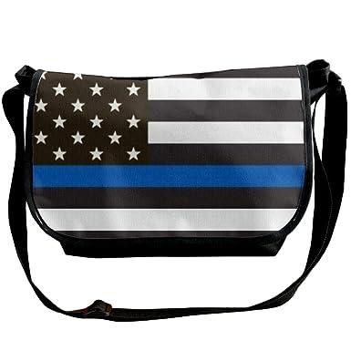 a3683e9ec97e Amazon.com: American Flag Thin Blue Line Men's Crossbody Bag One ...