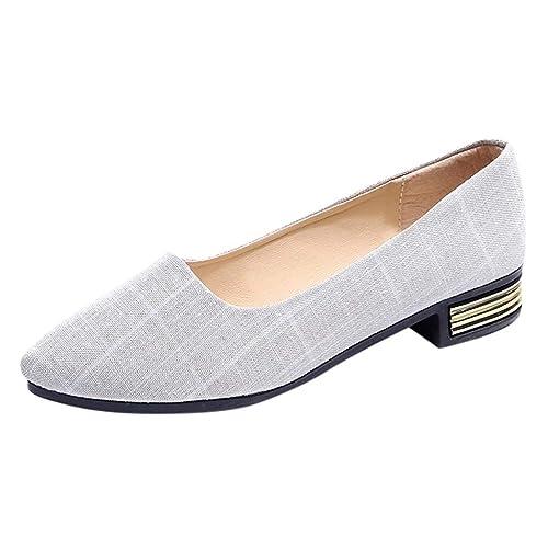 Mocasines de Moda para Mujer Damas Puntiagudas Mocasines Casuales Zapatos de Lona: Amazon.es: Zapatos y complementos