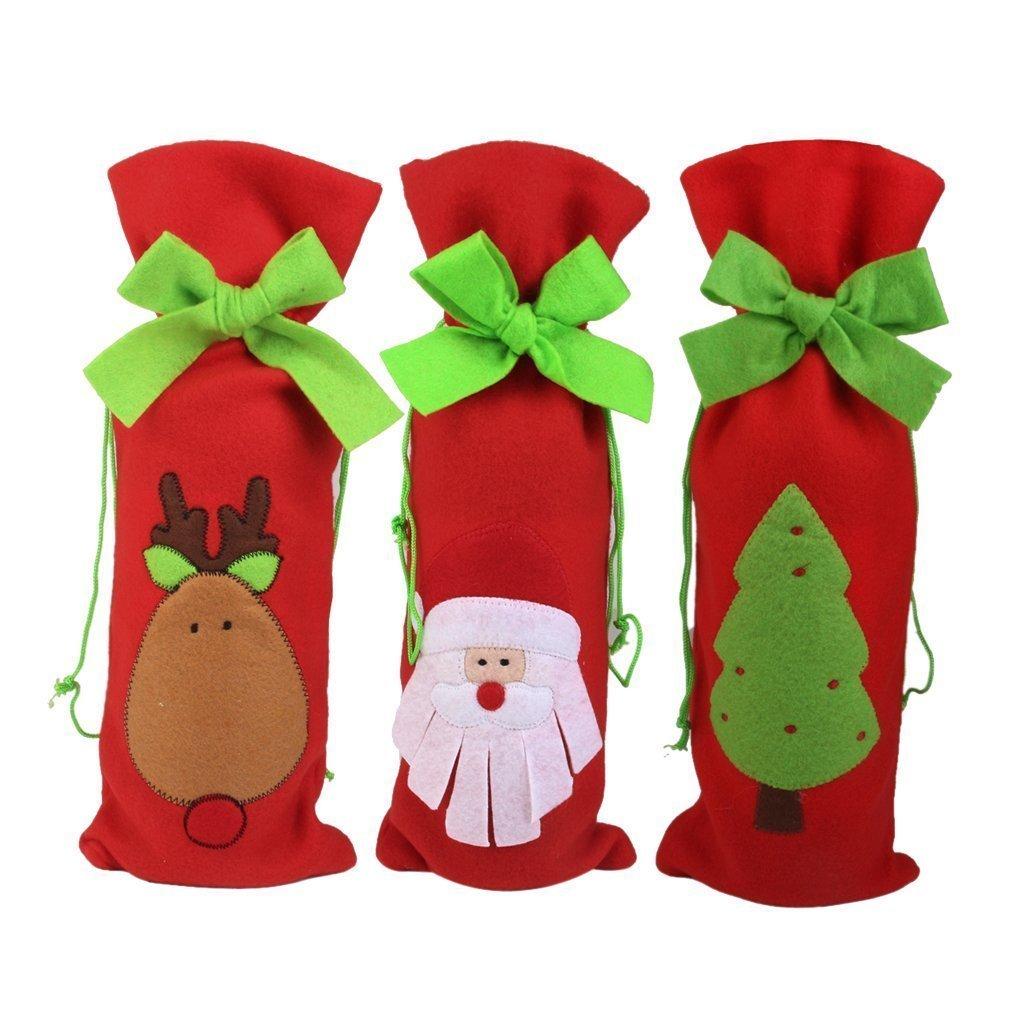 Natale bottiglia di vino sacchetti regalo coulisse sacchetto Babbo Natale cervi albero modello tabella decori (design 2) Sungpunet